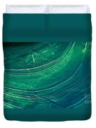 Ice Curve In Green Duvet Cover