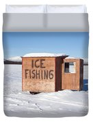 Ice Fishing Hut Duvet Cover