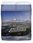 Ice Floes And Mountains Svalbard Norway Duvet Cover