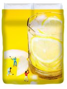 Ice Making For Lemonade Little People On Food Duvet Cover