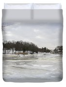 Ice On The Ipswich River Duvet Cover