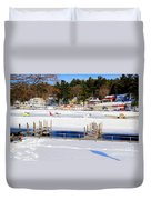 Planes On The Ice Runway In New Hampshire Duvet Cover