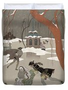 Ice Skating On The Frozen Lake Duvet Cover by Georges Barbier