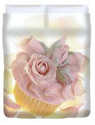 Iced Cup Cake With Sugared Pink Roses Duvet Cover