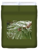 Iced Over Pine Cones Duvet Cover