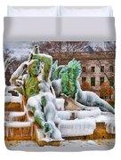 Iced Swann Fountain Duvet Cover