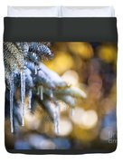 Icicles On Fir Tree In Winter Duvet Cover by Elena Elisseeva