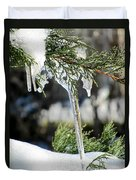 Icicles On Juniper Branch Duvet Cover