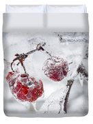 Icy Branch With Crab Apples Duvet Cover