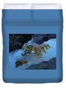 Icy Evergreen Reflection Duvet Cover