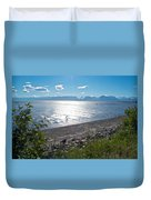 Icy-looking Kachemak Bay In Sunlight From Homer Spit-ak  Duvet Cover