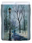 Icy Path - Palette Knife Oil Painting On Canvas By Leonid Afremov Duvet Cover