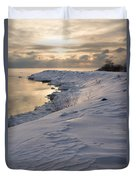 Icy Patterns On The Snow - A Lake Shore Morning Duvet Cover