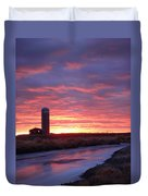 Icy River Sunset Duvet Cover