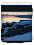 Icy Snowy Winter Sunrise On The Lake Duvet Cover