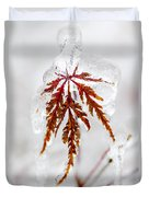 Icy Winter Leaf Duvet Cover