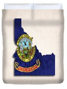 Idaho Map Art With Flag Design Duvet Cover