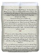 If By Rudyard Kipling Typography On Parchment Duvet Cover