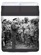 Ike With D-day Paratroopers Duvet Cover