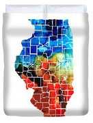 Illinois - Map Counties By Sharon Cummings Duvet Cover