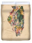 Illinois Map Vintage Watercolor Duvet Cover
