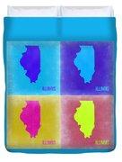Illinois Pop Art Map 2 Duvet Cover