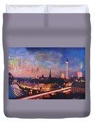 Illuminated Berlin Skyline At Dusk  Duvet Cover