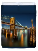 Illuminated Brooklyn Bridge By Night Duvet Cover