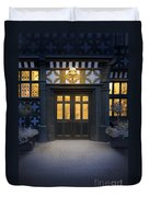 Illuminated Doorway To A Timber Framed Tudor House Or Mansion At Duvet Cover