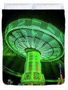 Illuminated Fair Ride With Blurred Neon Duvet Cover