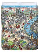 Illustrated Map Of London Duvet Cover
