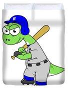 Illustration Of A Brontosaurus Baseball Duvet Cover