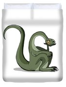 Illustration Of A Brontosaurus Thinking Duvet Cover by Stocktrek Images