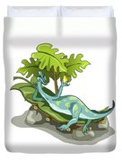 Illustration Of An Iguanodon Sunbathing Duvet Cover by Stocktrek Images