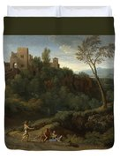 Imaginary Landscape With Buildings In Tivoli Duvet Cover