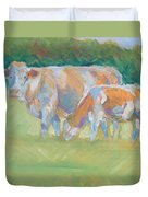Impressionist Cow Calf Painting Duvet Cover