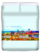 Impressionist Pittsburgh Across The River 2 Duvet Cover