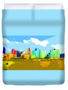 Impressionist Pittsburgh From The North Side Duvet Cover