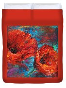 Impressionistic Red Poppies Duvet Cover
