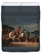 In A Quandary, Or Mississippi Raftsmen Duvet Cover