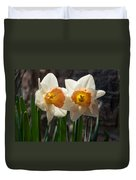 In Conversation - A Couple Of Daffodils Huddled Together Duvet Cover