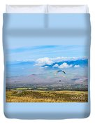 In Flight - Paragliders Taking Off High Over Maui. Duvet Cover