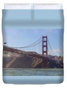 In Flight Over Golden Gate Duvet Cover by Scott Campbell