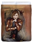 In Her World, 2005 Pen & Ink With Oil On Paper Duvet Cover