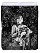 Girl With Oso Dormilon Duvet Cover