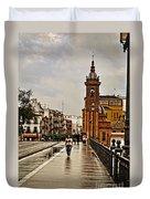 In The Rain - Puente De Triana Duvet Cover
