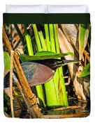 In The Shade Little Green Heron Duvet Cover