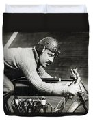 In The Wind On An Indian Motorcycle - 1913 Duvet Cover by Daniel Hagerman