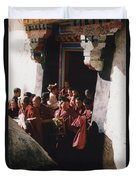 In Tibet Tibetan Monks 5 By Jrr Duvet Cover