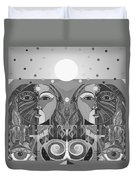 In Unity And Harmony In Grayscale Duvet Cover